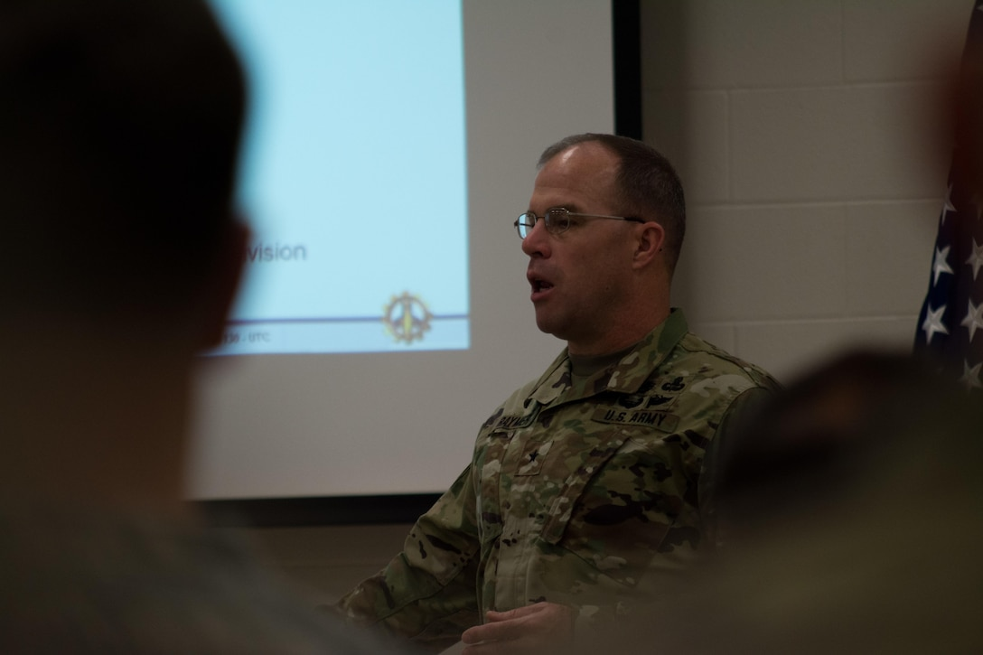 Commandant of the U.S. Army School of Engineers Brig Gen. James Raymer speaks to the attendees of the Engineer Total Planning Exercise (ENTAPE). ENTAPE is an exercise that brings together the senior engineer leadership from all components of the Army, in order to network, plan, and coordinate future capabilities. (U.S. Army photo by Staff Sgt. Jason Proseus/Released)