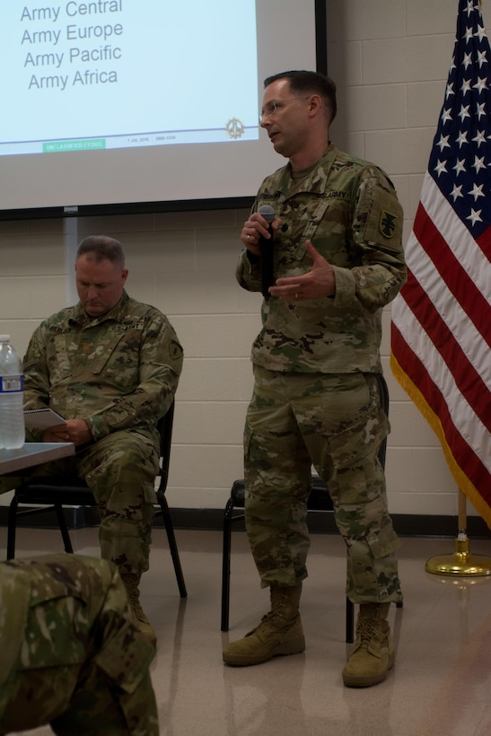 Lt. Col. Michael Stribny, the engineer liaison officer for U.S. Army Reserve Europe Command, Army Reserve Engagement Cell, answer questions from attendees at the Engineer Total Army Planning Exercise. ENTAPE is an exercise that brings together the senior engineer leadership from all components of the Army, in order to network, plan, and coordinate future capabilities. (U.S. Army photo by Staff Sgt. Jason Proseus/Released)