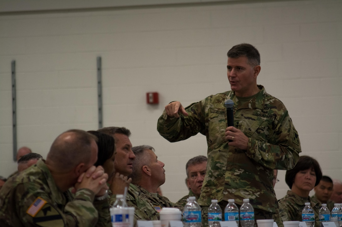 Maj. Gen. Lewis Irwin, commanding general of the 416th Theater Engineer Command (TEC), shares opening remarks during the Engineer Total Army Planning Exercise. ENTAPE is an exercise that brings together the senior engineer leadership from all components of the Army, in order to network, plan, and coordinate future capabilities. (U.S. Army photo by Staff Sgt. Jason Proseus/Released)
