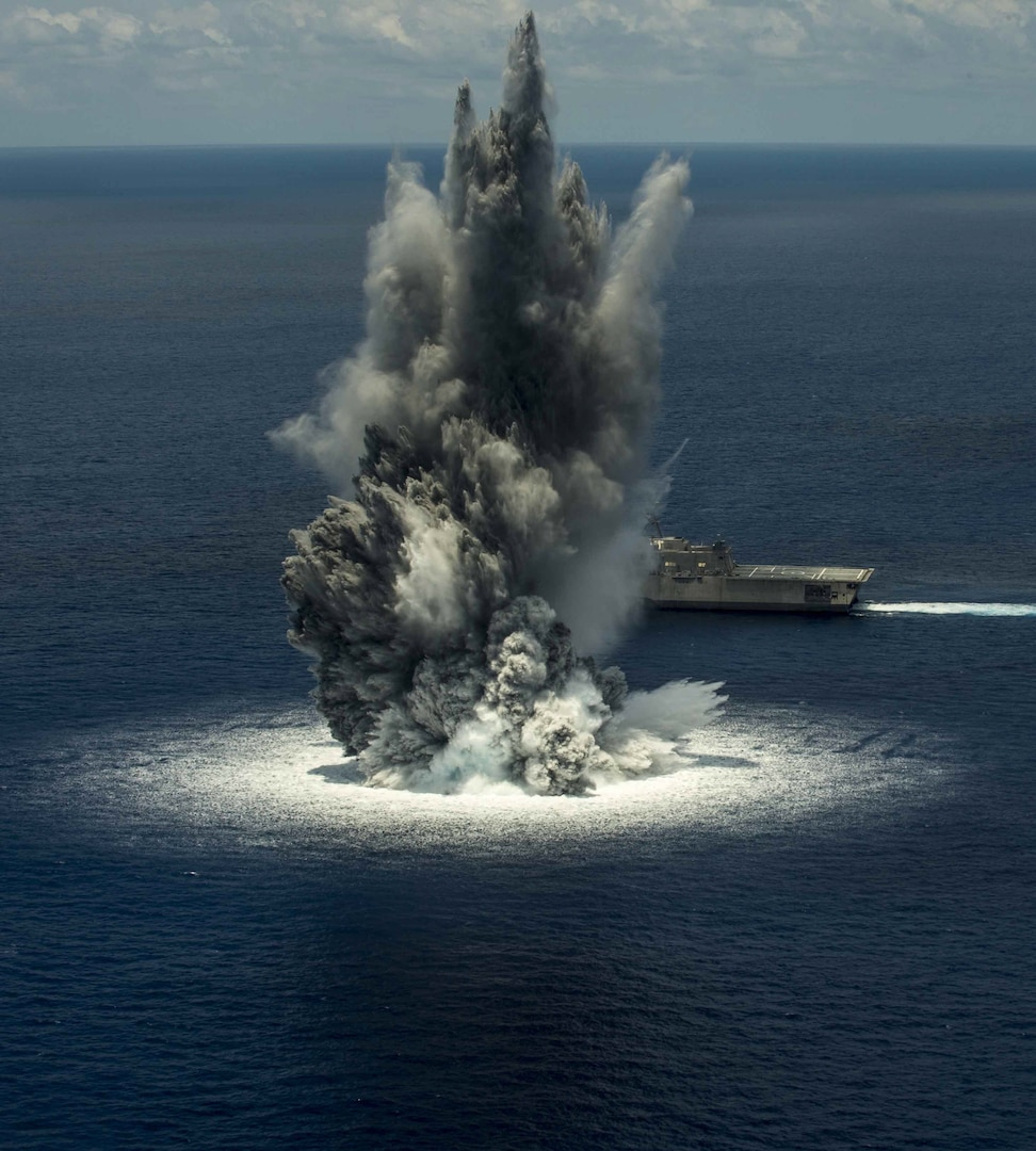 160613-N-DN943-001 ATLANTIC OCEAN (June 10, 2016) The littoral combat ship USS Jackson (LCS 6) successfully completes the first of three scheduled full-ship shock trials. The shock trials are designed to demonstrate the ship's ability to withstand the effects of nearby underwater explosion and retain required capability. Jackson is currently ported at Naval Station Mayport, Fla., for required inspections and preparation for the second full-ship shock trial scheduled for later this month. (U.S. Navy photo/Released)