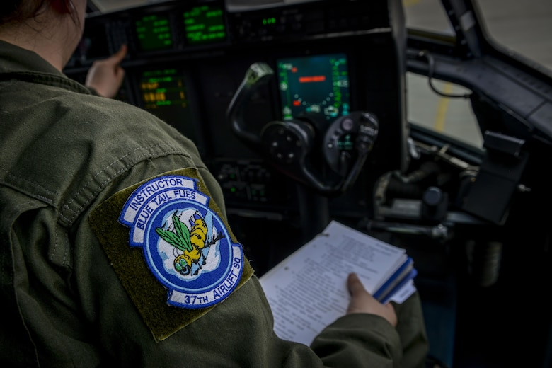 Senior Airman Emily Mitchell, 37th Airlift Squadron loadmaster prepares a C-130J Super Hercules before flight during Exercise Thracian Summer 2016 July 17, Plovdiv, Bulgaria. During the two-week forward training deployment, the 37th Airlift Squadron are conducting tactical flight training which include low-level flights, airdrop training with partnered forces and other related training events. The evolutions help preserve joint readiness, build interoperability and strengthen relationships with our NATO allies. (U.S. Air Force photo/Senior Airman Nicole Keim)