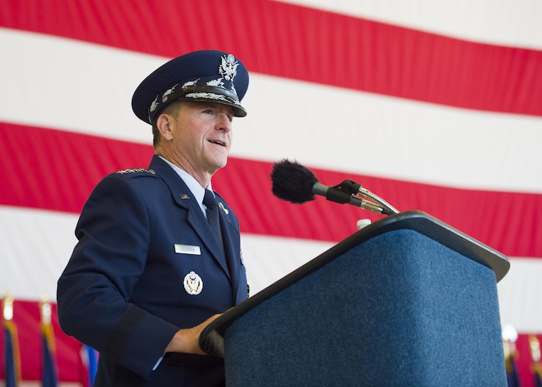 Gen. David L. Goldfein, Chief of Staff of the U.S. Air Force, speaks to the assembled Air Commandos and guests during the Air Force Special Operations Command change of command ceremony July 19, 2016, at Hurlburt Field, Fla. Goldfein officiated as Lt. Gen. Brad Webb took command of AFSOC.  Webb is the 11th AFSOC commander, and follows Lt. Gen. Brad Heithold, who is transferring to Washington D.C. to serve as the principal deputy director of cost assessment and program evaluation in the Office of the Secretary of Defense. (U.S. Air Force photo by Staff Sgt. Melanie Holochwost)