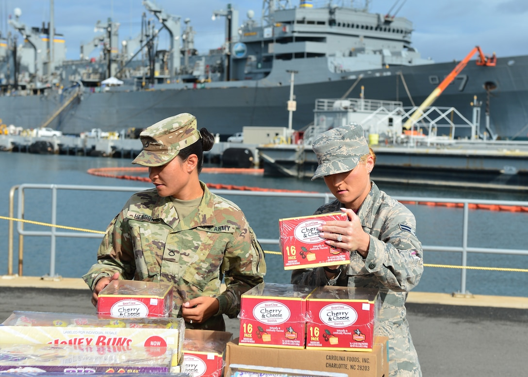 Army Pfc. Marissa Henson, Public Heath Command District Central Pacific Hawaii food inspector, and Airman 1st Class Jessika Willis, 15th Aerospace Medicine Squadron public heath technician, inspect a pallet of food prior to delivery to the USS John C. Stennis (CVN-74) on Joint Base Pearl Harbor-Hickam, July 15 2016. Airmen from the 15th Aerospace Medicine Squadron are working alongside Soldiers from the Public Heath Command District Central Pacific Hawaii to ensure food is safely delivered to service members aboard 33 military vessels during the Rim of the Pacific Exercise 2016. Twenty-six nations, more than 40 ships and submarines, more than 200 aircraft, and 25,000 personnel are participating in RIMPAC from June 30 to Aug. 4, in and around the Hawaiian Islands and Southern California. The world's largest international maritime exercise, RIMPAC provides a unique training opportunity that helps participants foster and sustain the cooperative relationships that are critical to ensuring the safety of sea lanes and security on the world's oceans. (U.S. Air Force photo by Tech. Sgt. Aaron Oelrich/Released)