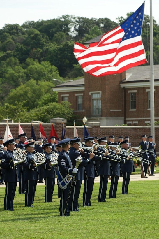 The Air Force Band Ceremonial Brass perform for the 11th Wing Change of Command ceremony on 12 July 2016 on Joint Base Anacostia-Bolling. (US Air Force Photo by Chief Master Sgt Bob Kamholz/released)