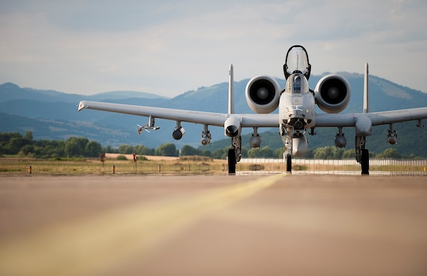 An A-10 Thunderbolt II from the 122nd Fighter Wing, Fort Wayne Air Station, Indiana taxis after landing at Sliac Air Base, Slovakia July 8, 2016. The A-10s are in Slovakia to conduct training alongside our NATO ally as well as participate in cross-border training with other deployed U.S. forces' aircraft and NATO aircraft in the area. (Air National Guard photo/ Staff Sgt. William Hopper)