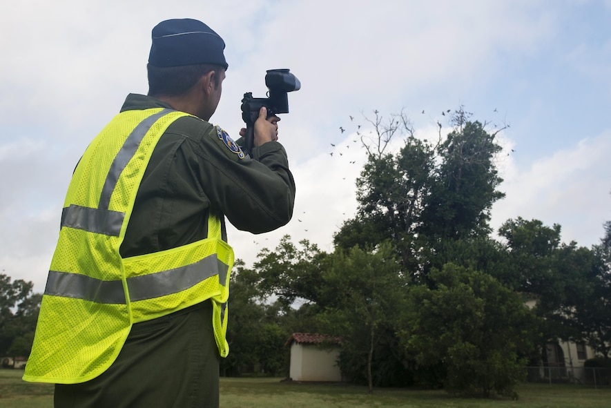 Maj. Will Rose, 12th Flying Training Wing Bird/Wildlife Aircraft Strike Hazard Program manager and T-6A Texan II flight safety officer, fires a paintball gun into a tree full of birds to scare them away July 13, 2016 at Joint Base San Antonio-Randolph. BASH Program team members use bangers, screamers and cracker shells, which are various types of pyrotechnics, to scare birds and wildlife away from where aircraft are taking off and landing.