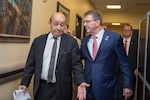 Defense Secretary Ash Carter, right, talks with French Defense Minister Jean-Yves Le Drian during a meeting of defense ministers and senior leaders from the coalition to counter the Islamic State of Iraq and the Levant at Joint Base Andrews, Md., July 20, 2016. DoD photo by Air Force Tech. Sgt. Brigitte N. Brantley