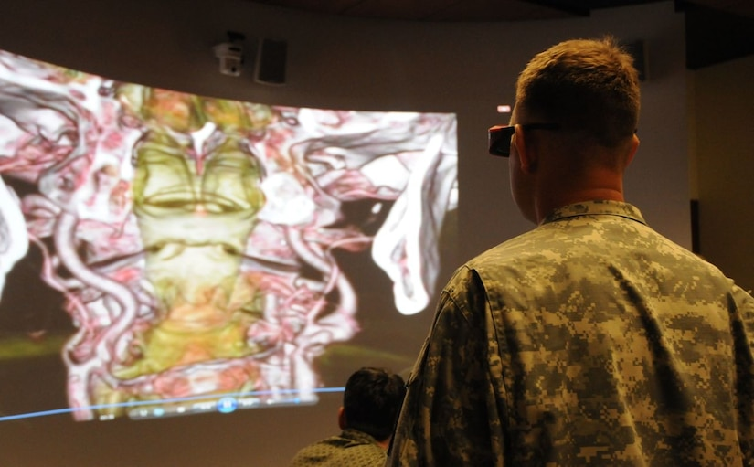 The National Intrepid Center of Excellence in Bethesda, Maryland features a digital imaging visualization environment, or DIVE, room that allows patients, clinicians and family members to view 3-D images of brain scans. Courtesy photo