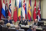 Defense Secretary Ash Carter, left back, listens to remarks from French Defense Minister Jean-Yves Le Drian, right back, during a meeting of defense ministers and senior leaders from the coalition to counter the Islamic State of Iraq and the Levant at Joint Base Andrews, Md., July 20, 2016. DoD photo by Air Force Tech. Sgt. Brigitte N. Brantley