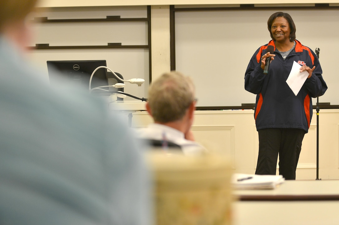 Retired Maj. Darlean Basuedayva, a health promotion officer for the U.S. Army Public Health Center, practices her comedy routine with fellow veterans during an Armed Services Arts Partnership comedy boot camp class at the College of William and Mary in Williamsburg, Va., April 9, 2016.(U.S. Air Force photo/Staff Sgt. Natasha Stannard)