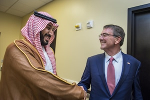 Defense Secretary Ash Carter meets with Saudi Defense Minister and Deputy Crown Prince Mohammed bin Salman during a meeting of defense ministers and senior leaders from the coalition to counter the Islamic State of Iraq and the Levant at Joint Base Andrews, Md., July 20, 2016. DoD photo by Air Force Tech. Sgt. Brigitte N. Brantley