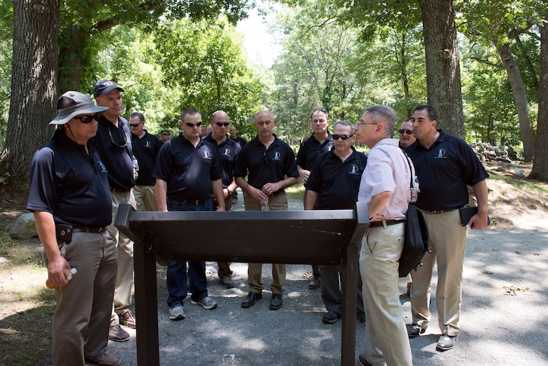 More than 20 senior officer and enlisted leaders from the 109th Airlift Wing visit the Lexington and Concord battle road in Massachusetts on July 13, 2016, as part of  a professional development staff ride to Massachusetts July 11-14. Leaders had the opportunity to network with each other and discuss the wing's strtegic plan. (U.S. Air National Guard photo by Senior Airman Jamie Spaulding/Released)