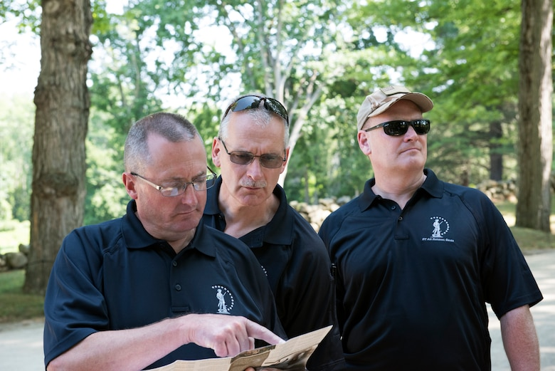 (From left) Chief Master Sgt. Raymond Morgan, Senior Master Sgt. Jeffrey Trottier and Lt. Col. William Carraher visit the Lexington and Concord battle road in Massachusetts on July 13, 2016. They were among more than 20 senior officer and enlisted leaders from the 109th Airlift Wing who participated in a professional development staff ride to Massachusetts July 11-14. Leaders had the opportunity to network with each other and discuss the wing's strategic plan. (U.S. Air National Guard photo by Senior Airman Jamie Spaulding/Released)