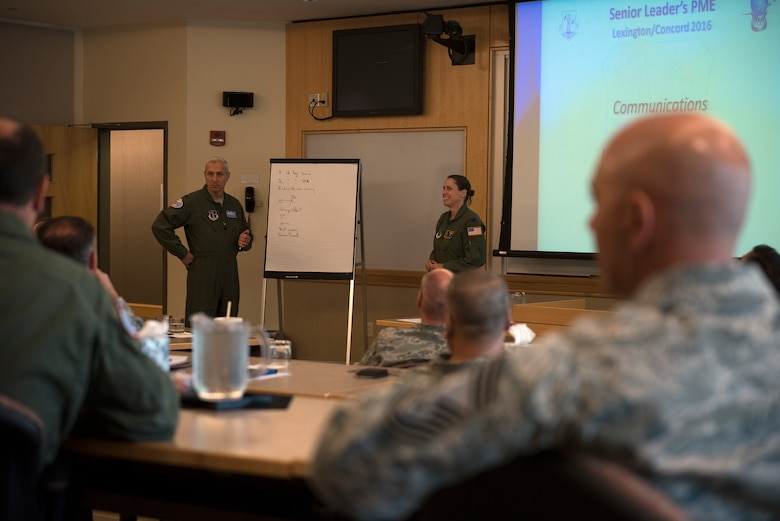 Col. Alan Ross, 109th Airlift Wing vice commander, and Col. Denise Donnell, 105th AW vice commander, lead a facilitated discussion on strategic planning at the Southbridge Conference Center, Southbridge, Massachusetts, on July 12, 2016. More than 20 senior officer and enlisted leaders with the 109th AW participated in a professional development staff ride to Massachusetts July 11-14 and along with strategic plan discussion also had the opportunity to network with each other. (U.S. Air National Guard photo by Senior Airman Jamie Spaulding/Released).