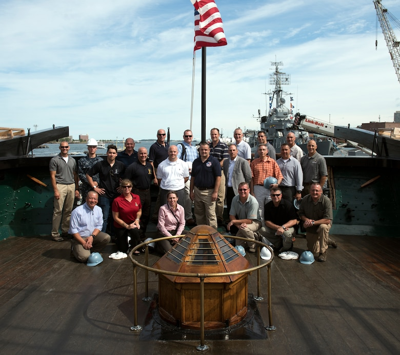 Senior officer and enlisted leaders with the 109th Airlift Wing visit the USS Constitution in Boston on July 11, 2016, during a professional development staff ride where they had the opportunity to network with each other and discuss strategic planning. (Courtesy photo/Released)