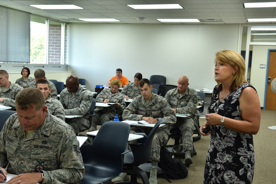 Tammie Smeltzer, professional continuing education manager, teaches a lesson on the different levels of learning to students enrolled in the Instructor Certification Program, July 20, 2016, at the I.G. Brown Training and Education Center in Louisville, Tenn. (U.S. Air National Guard photo by Master Sgt. Mike R. Smith)