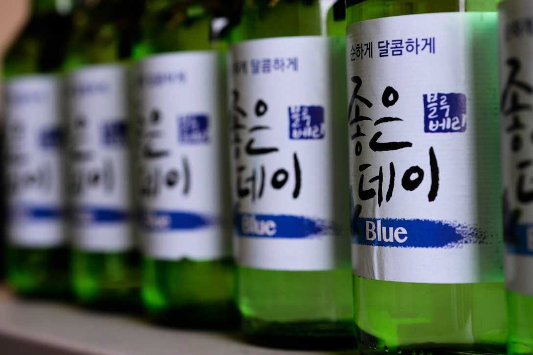 """Osan Air Base has the highest amount of referrals to the Alcohol and Drug Abuse Prevention and Treatment program across the Air Force due to the overconsumption of soju. The ADAPT clinic seeks to combat this issue with a two-hour course called """"Soju Think You Can Drink"""" consisting of education of acceptable alcohol use, open discussions and hands-on exercises, which begins Aug. 16, 2016, at the Mustang Resiliency Center, here. (U.S. Air Force photo by Senior Airman Dillian Bamman/Released)"""