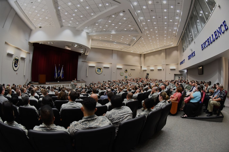 Air Force Chief of Staff Gen. David L. Goldfein and Chief Master Sgt. of the Air Force James A. Cody speak to Airmen at Maxwell Air Force Base, Ala., during a town hall July 20, 2016. The Air Force's two most senior leaders addressed Airmen's concerns about topics that included personnel, warfighting and retention. (U.S. Air Force photo/Senior Airman Hailey Haux)