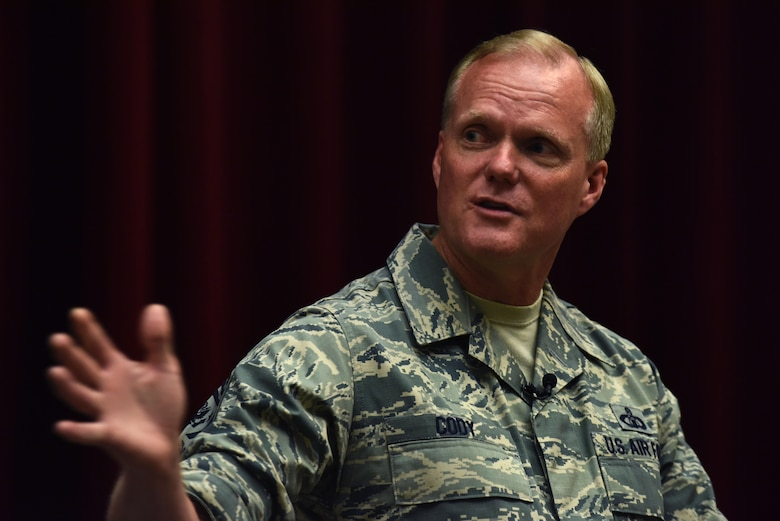 Chief Master Sgt. of the Air Force James A. Cody addresses Airmen at Maxwell Air Force Base, Ala., during a town hall event July 20, 2016. Cody and Gen. David L. Goldfein, the Air Force chief of staff, answered multiple questions, addressing key concerns. (U.S. Air Force photo/Senior Airman Hailey Haux)