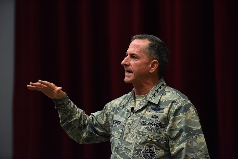 Air Force Chief of Staff Gen. David L. Goldfein speaks to Airmen at Maxwell Air Force Base, Ala., during a town hall event July 20, 2016. This is the first town hall Goldfein has hosted since being sworn in as the chief of staff. (U.S. Air Force photo/Senior Airman Hailey Haux)