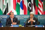 Defense Secretary Ash Carter and Secretary of State John Kerry speak during a joint session of counter-ISIL foreign and defense ministers at the State Department in Washington, D.C., July 21, 2016. DoD photo by Air Force Tech. Sgt. Brigitte N. Brantley