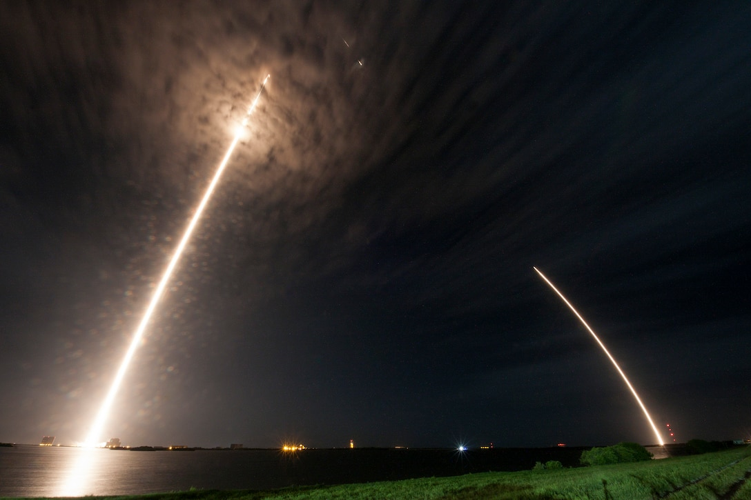 The 45th Space Wing supported SpaceX's successful launch of a Falcon 9 Dragon spacecraft headed to the International Space Station from Space Launch Complex 40 at Cape Canaveral Air Force Station, Fla., July 18, 2016. At about eight minutes after the launch, SpaceX successfully landed the Falcon 9 first-stage booster at Landing Zone 1 on Cape Canaveral AFS. This Falcon 9 Dragon launch was the 13th major launch operation for the Eastern Range this year, and marks the ninth contracted mission by SpaceX under NASA's commercial resupply services contract. (Courtesy photo/SpaceX)