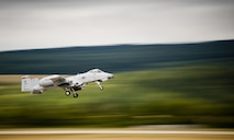 An A-10C Thunderbolt II, from the 163rd Expeditionary Fighter Squadron, takes off during Operation Atlantic Resolve at Sliač Air Base, Slovakia, July 19, 2016. Airmen of the 163rd EFS have been taking part in OAR to conduct training and familiarization events alongside the Slovak armed forces, a NATO ally. The U.S. presence in Europe and the relationships built over the past 70 years provide strategic access critical to meet the nation's NATO commitment to respond to threats against our allies and partners. (U.S. Air National Guard photo/Staff Sgt. William Hopper)