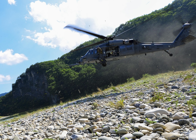 An Air Force HH-60 Pave Hawk approaches for landing during a combat search and rescue training mission in the Republic of Korea, July 19, 2016. The crew and helicopter are both assigned to the 33rd Rescue Squadron from Kadena Air Base, Japan, and were deployed to the Republic of Korea for Exercise Pacific Thunder 16-2, a two-week long training event that combines U.S. and Republic of Korea forces to enhance interoperability for combat search and rescue missions across the Korean peninsula. (U.S. Air Force photo by Senior Airman Victor J. Caputo/Released)