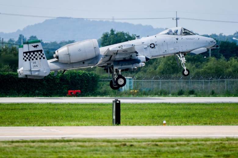 An A-10 Thunderbolt II assigned to the 25th Fighter Squadron lifts off from Osan Air Base, Republic of Korea, July 19, 2016. The A-10 was en-route to a combat search and rescue scenario during Exercise Pacific Thunder 16-2, a combined exercise to enhance interoperability between U.S. and ROK forces. (U.S. Air Force photo by Staff Sgt. Jonathan Steffen/Released)