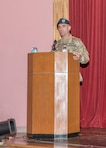 New District Commander Col. Rafael F. Pazos delivers remarks during the U.S. Army Corps of Engineers, Japan District Change of Command Ceremony, July 8.