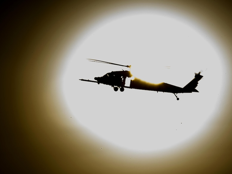 An HH-60 Pave Hawk returns from an exercise mission July 12, 2016, at Nellis Air Force Base, Nev., as part of Red Flag 16-3. The exercise is one of four Red Flags at Nellis AFB, with this iteration focusing on air, space and cyberspace operations. (U.S. Air Force photo/Tech. Sgt. David Salanitri)