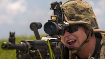 Lance Cpl. Collin J. O'Reilly simulates shooting a M240 Bravo during an airfield seizure exercise July 20, 2016 at Iejima, Okinawa, Japan. Marines immediately set up security, simulated engaging the enemy and set up a combat operations center after getting off an MV-22B Osprey. O'Reilly, a Colchester, Vermont, native, is a machine gunner with Golf Company, 2nd Marine Division currently attached to 4th Marine Regiment, 3rd Marine Division, III Marine Expeditionary Force through the unit deployment program.