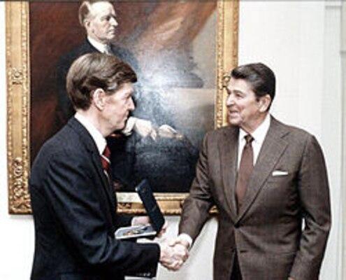 John T. Hughes and President Ronald Reagan