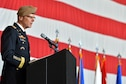 U.S. Army Gen. Joseph L. Votel, U.S. Central Command commander, speaks during the USAFCENT change of command ceremony at Shaw Air Force Base, S.C., July 22, 2016. Votel welcomed U.S. Air Force Lt. Gen. Jeffrey L. Harrigian, U.S. Air Forces Central Command commander, and his family to AFCENT. (U.S. Air Force photo by Airman 1st Class Christopher Maldonado/Released)