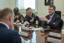 Defense Secretary Ash Carter meets with senior enlisted members from the Joint Chiefs, Army, Marine Corps, Navy, Air Force, Coast Guard and National Guard Bureau at the Pentagon, July 22, 2016. DoD photo by Air Force Tech. Sgt. Brigitte N. Brantley