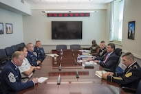 Defense Secretary Ash Carter meets with the senior enlisted members from the Joint Chiefs, Army, Marine Corps, Navy, Air Force, National Guard and Coast Guard at the Pentagon, July 22, 2016. Left front to back are: Chief Master Sgt. of the Air Force James A. Cody; Master Chief Petty Officer of the Navy Michael D. Stevens; Master Chief Petty Officer of the Coast Guard Steven W. Cantrell; and Air Force Chief Master Sgt. Mitchell O. Brush, senior enlisted advisor for the National Guard Bureau. Right front to back are: Sgt. Maj. of the Army Daniel A. Dailey; Carter; Army Command Sgt. Maj. John W. Troxell, senior enlisted advisor to the chairman of the Joint Chiefs of Staff; and Sgt. Maj. of the Marine Corps Ronald L. Green. DoD photo by Air Force Tech. Sgt. Brigitte N. Brantley