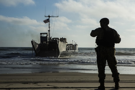 MARINE CORPS BASE CAMP PENDLETON, Calif. -  Sailors from the Makin Island Amphibious Ready Group approach the shore in a landing craft, utility at Camp Pendleton July 19, 2016. The LCU launched from the USS Comstock (LSD 45) and carried a Beach Master Unit's equipment and a combined anti-armor team from the 11th Marine Expeditionary Unit to shore. The 11th MEU and Amphibious Squadron 5 are working together in preparation for their upcoming Western Pacific deployment 16-2. (U.S. Marine Corps photo by Sgt. Anna Albrecht/ Released)