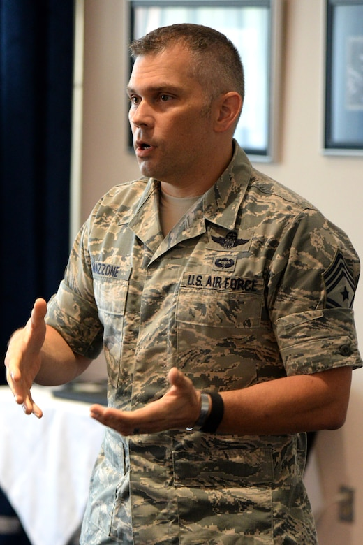 Air Force District of Washington Command Chief Master Sgt. Tommy Mazzone speaks to attendees during the first ever AFDW First Sergeant Conference at Joint Base Anacostia-Bolling July 18, 2016. The event provided an opportunity for enlisted leadership and first sergeants from across the National Capital Region to discuss the needs of Airman. (U.S. Air Force photo/Tech. Sgt. Matt Davis)
