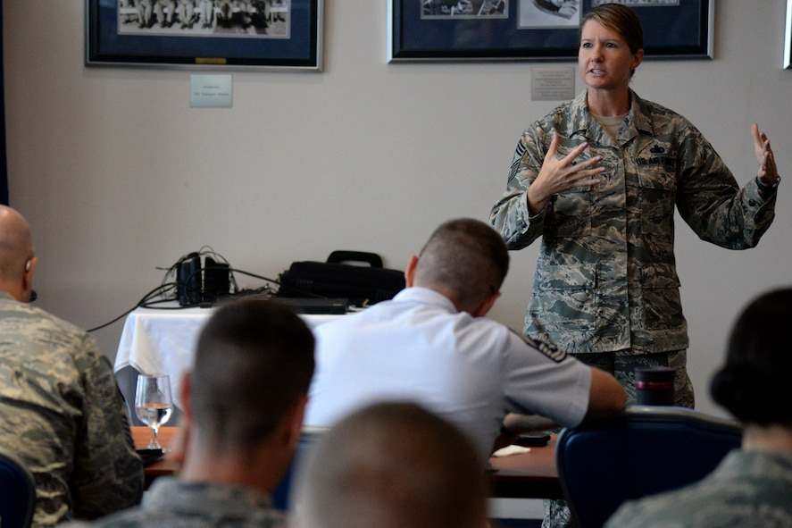 11th Wing Command Chief Master Sgt. Beth Topa speaks to attendees during the first ever AFDW First Sergeant Conference at Joint Base Anacostia-Bolling July 18, 2016. The event provided an opportunity for enlisted leadership and first sergeants from across the National Capital Region to discuss the needs of Airman. (U.S. Air Force photo/Tech. Sgt. Matt Davis)