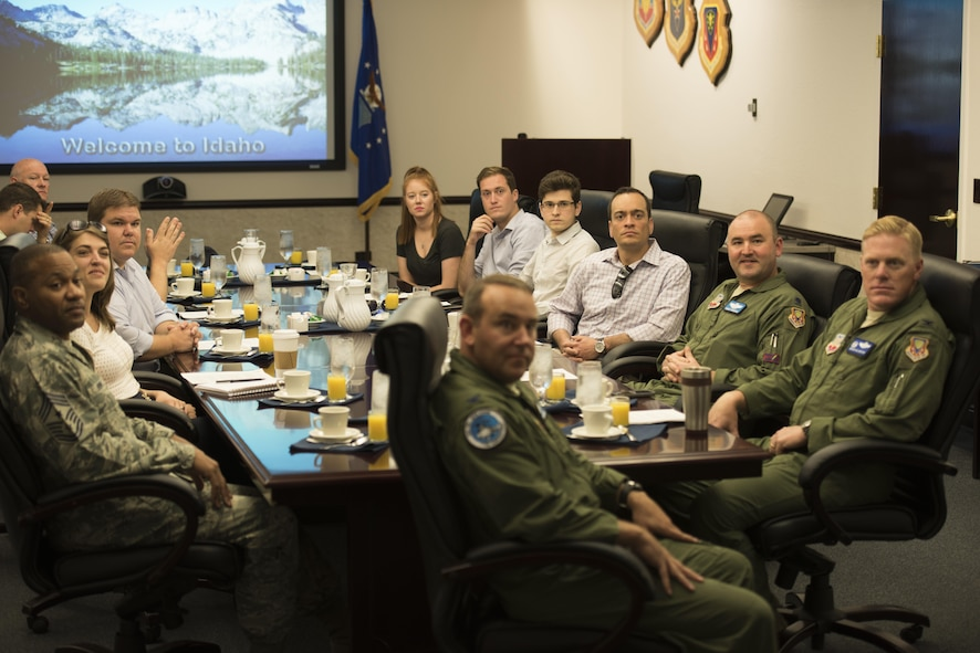 Congressional advisors attend a mission briefing at Mountain Home Air Force Base, Idaho, July 19, 2016. Col. David Brynteson, 366th Fighter Wing vice commander, discussed topics such as air operation capabilities, wing vision and the history of the base. (U.S. Air Force photo by Airman Alaysia Berry/Released)