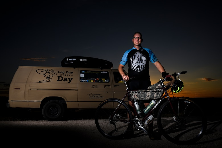 Staff Sgt. Kyle Emmel, a 17th Training Group student, is an avid cyclist who rides to stay in shape both physically and mentally. Emmel said he had to build cycling into his life, which became a pivotal component in helping with depression. (U.S. Air Force photo/Senior Airman Devin Boyer)
