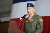 Col. Joseph Santucci provides remarks following the 55th Operations Group change of command ceremony July 15 at Offutt Air Force Base, Neb. As part of a time-honored military tradition, Santucci was introduced as the new 55th OG commander. (U.S. Air Force photo by Zachary Hada/released)