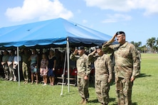 Pacific Ocean Division Commander Col. Peter B. Andrysiak (right), U.S. Army Corps of Engineers Commanding General, Lt. Gen. Todd T. Semonite, and outgoing Division Commander Brig. Gen. Jeffrey L. Milhorn, salute during the presentation of the colors at the USACE Pacific Ocean Division Change of Command ceremony July 12 on Palm Circle at Fort Shafter. At the ceremony Andrysiak became the 32nd commander of the Pacific Ocean Division, U.S. Army Corps of Engineers.