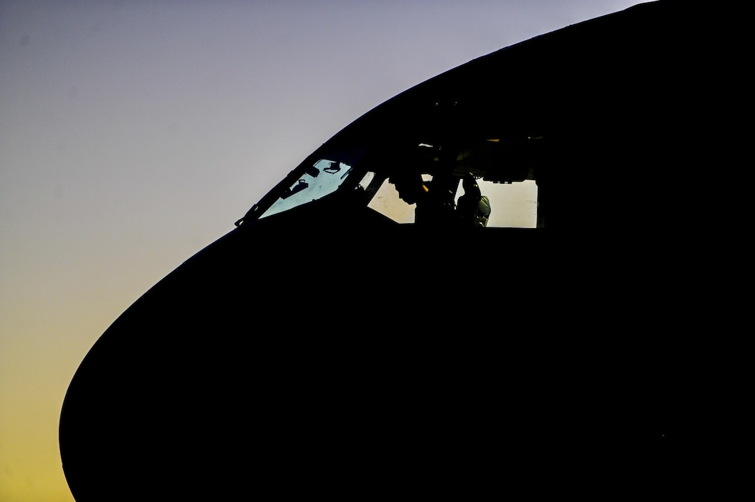 Captain Scott Levin, 437th Airlift Wing, Joint Base Charleston, S.C., pilot, prepares a C-17 on the runway during Red Flag 16-3 at Nellis Air Force Base, Nev., July 20, 2016. Red Flag is a realistic combat exercise involving multiple military branches conducting training operations on the 15,000 square mile Nevada Test and Training Range. (U.S. Air Force photo by Airman 1st Class Kevin Tanenbaum/Released)