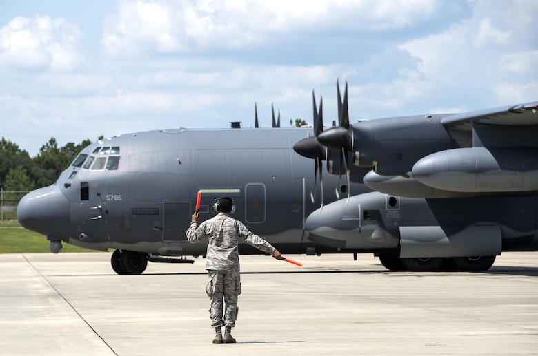 U.S. Air Force Capt. Christy Wise, 71st Rescue Squadron HC-130J Combat King II pilot, taxis at the end of her requalification flight, July 22, 2016, at Moody Air Force Base, Ga. Wise made her mark in Air Force history by becoming the first female above-the-knee amputee to return to the skies. (U.S. Air Force photo by Airman 1st Class Janiqua P. Robinson)