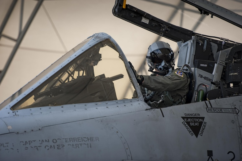 U.S. Air Force Capt. Erik Gonsalves, 75th Fighter Squadron A-10C Thunderbolt II pilot, runs through pre-flight inspections with his crew chief prior to his final flight at the 75th FS, June 27, 2016, at Moody Air Force Base, Ga.  Gonsalves, a Fort Lauderdale, Fla. native, was one of four Airmen selected by the United States Air Force Aerial Demonstration Team, the Thunderbirds. Gonsalves will be flying Thunderbird #8 during the 2017-18 season. (U.S. Air Force photo by Andrea Jenkins/Released)