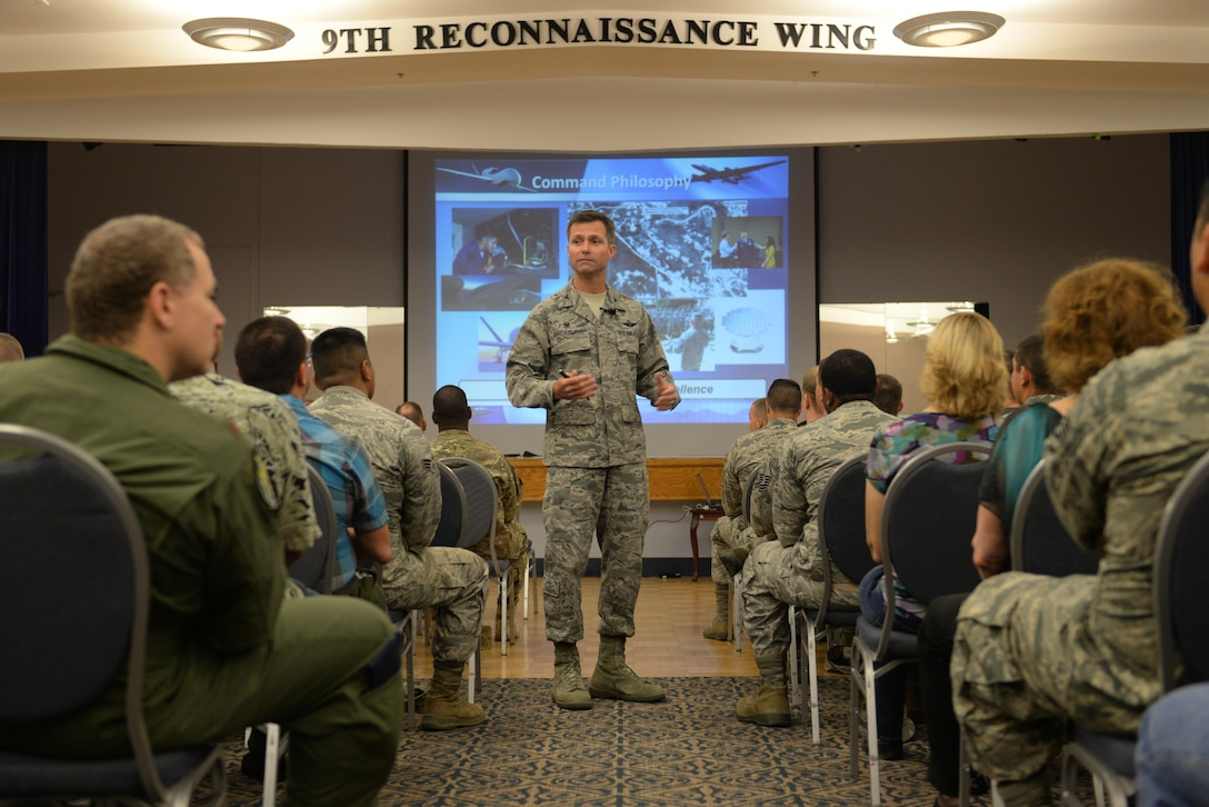 Col. Larry Broadwell, 9th Reconnaissance Wing commander, speaks to Team Beale during a commander's call July 22, 2016, at Beale Air Force Base, California. Broadwell recently assumed command of the 9th RW and took the opportunity to meet with Airmen and provide his views and expectations of Beale Airmen. (U.S. Air Force photo by Senior Airman Ramon A. Adelan)