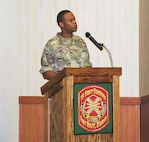 Col. Andrew Cole Jr., outgoing garrison commander, addresses the Soldiers, civilians and family members for the last time before leaving Fort Riley during a change of command ceremony July 13 at Riley's Conference Center. Cole will become the chief of staff at the Maneuver Command Center of Excellence in Fort Benning, Georgia.