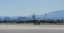 A B-52 Stratofortress, 96th Bomb Squadron, Barksdale Air Force Base, La., taxis before takeoff during Red Flag 16-3 at Nellis Air Force Base, Nev., July 18, 2016.  Red Flag is a realistic combat exercise involving training operations on the 15,000 square mile Nevada Test and Training Range. (U.S. Air Force photo by Senior Airman Kristin High/Released)