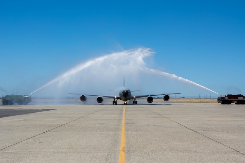 The first of eight KC-135 Stratotankers arrived at Beale Air Force Base, California on July 10, 2016 during an official welcoming ceremony. The 940th Air Refueling Wing was re-designated from the 940th Wing on June 4, 2016. The seven remaining KC-135 aircraft are highly anticipated to arrive by October, 2016. (Courtesy photo by John L. Brackens)